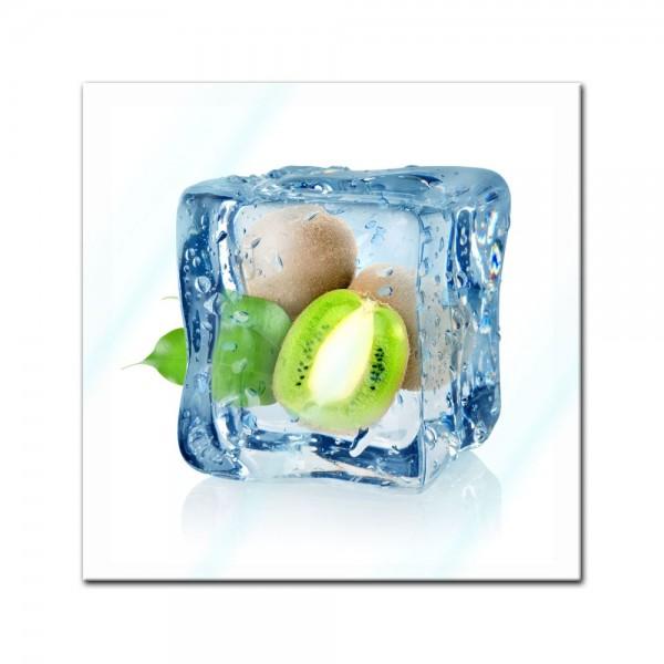 Glasbild - Eiswürfel Kiwi