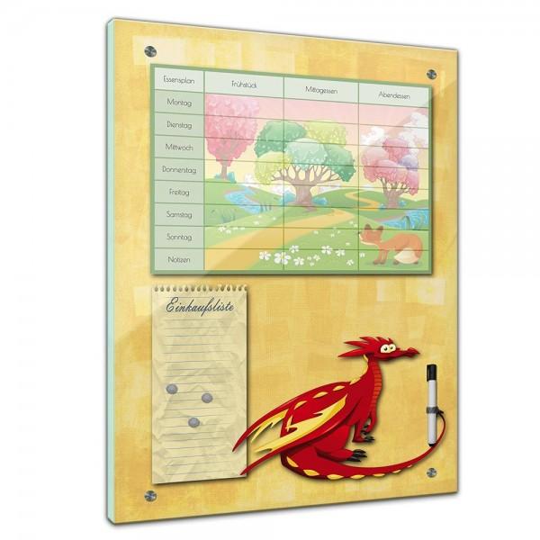 Memoboard - Essensplaner für Kinder - Märchenwald mit Drachen