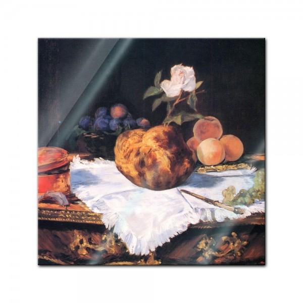 Glasbild Edouard Manet - Alte Meister - Stillleben mit Brioche