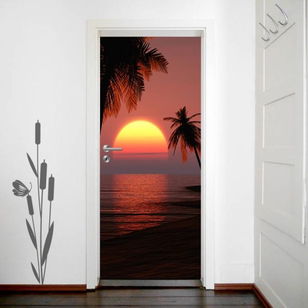 Türaufkleber - Sonnenuntergang mit Palmen
