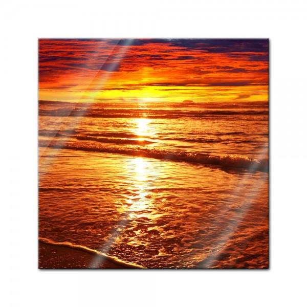Glasbild - Sonnenuntergang