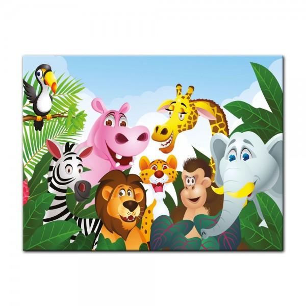 Leinwandbild - Kinderbild - Dschungeltiere Cartoon III