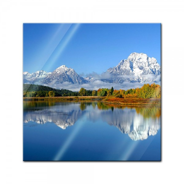 Glasbild - Berglandschaft USA Oxbow Bend