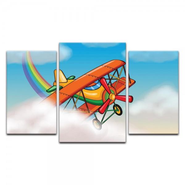 Leinwandbild - Kinderbild - Flugzeug Cartoon