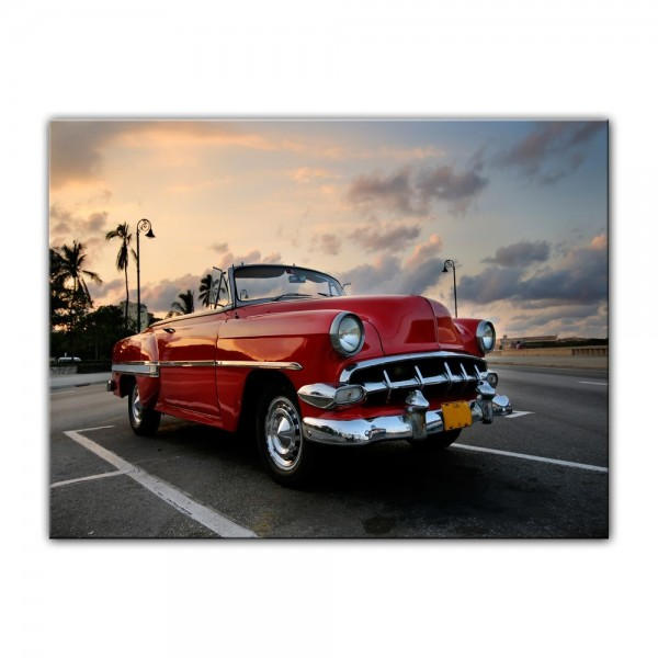 Leinwandbild - Roter Oldtimer in Havanna