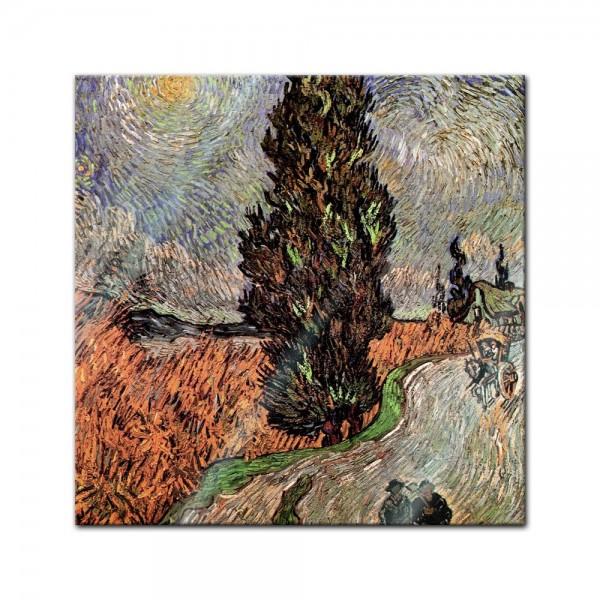 Glasbild Vincent van Gogh - Alte Meister - Zypressenweg unter dem Sternenhimmel -