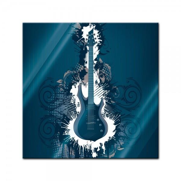 Glasbild - E-Gitarre Illustration - blau