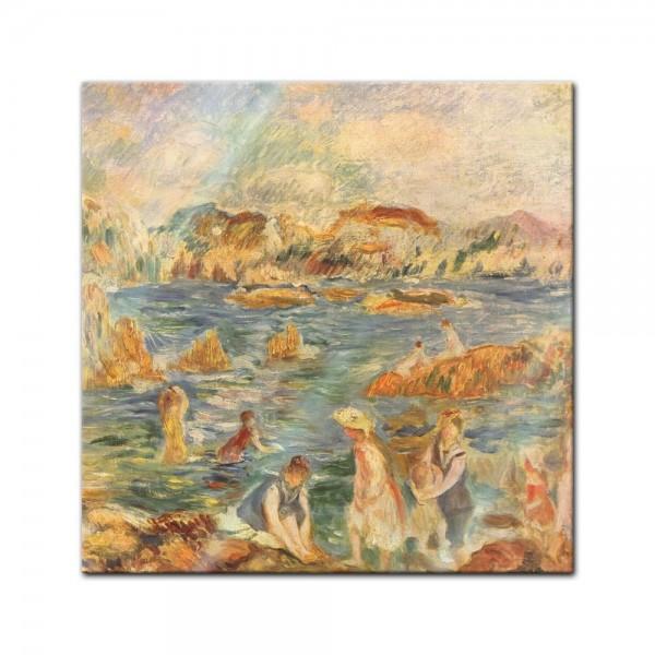 Glasbild Pierre-Auguste Renoir - Alte Meister - Am Strand von Guernesey -