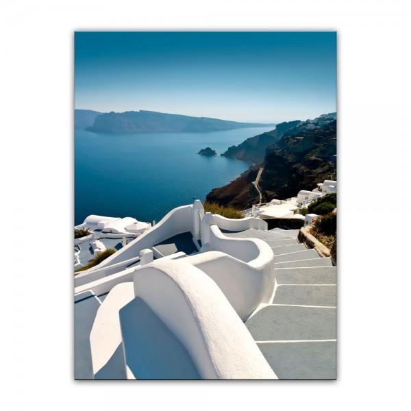 Leinwandbild - Santorini Treppe - Griechenland