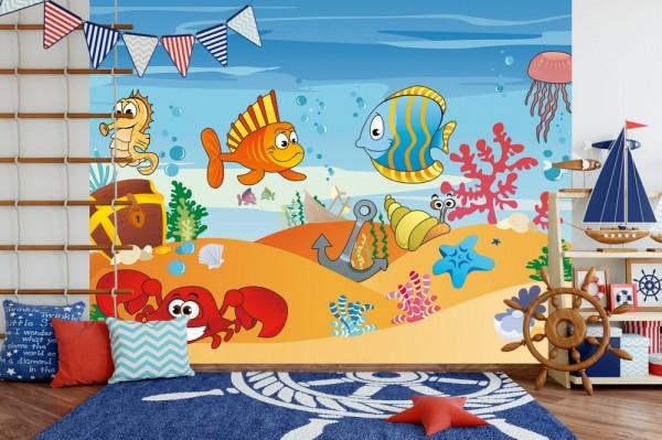 Fototapete - Kinderbild Unterwasser Tiere VII