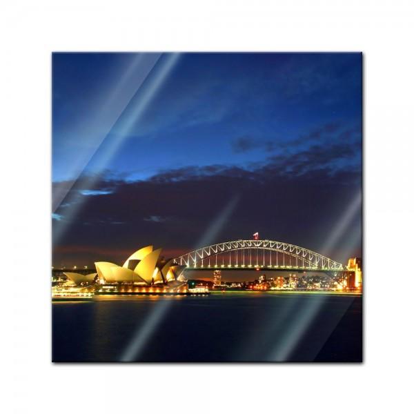 Glasbild - Sydney Opera House und die Harbour Bridge
