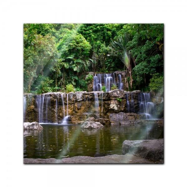 Glasbild - Wasserfall in Thailand