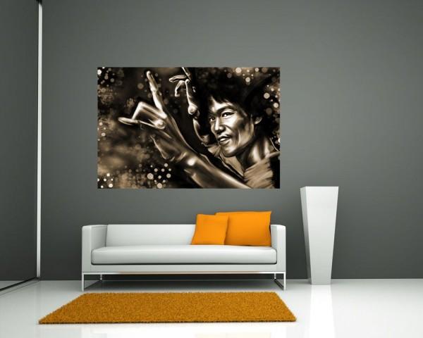 SALE Fototapete - Bruce Lee - 90 cm x 60 cm - sephia