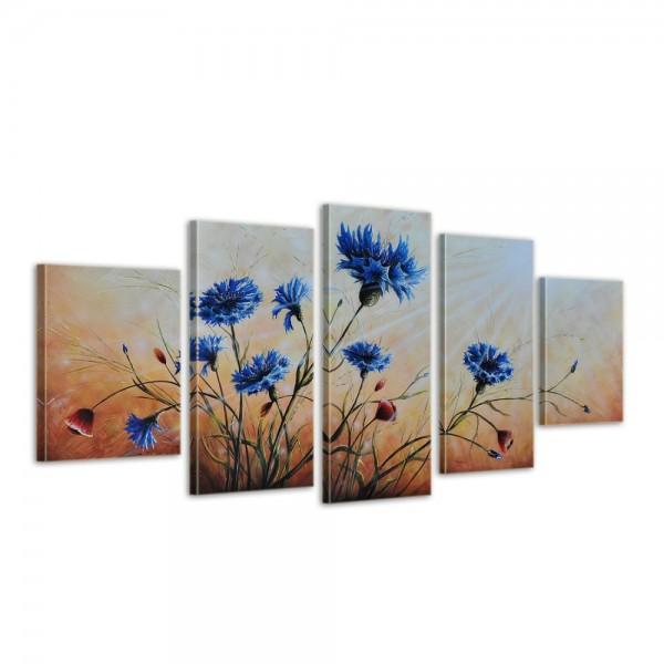 SALE Blumen M1 - Leinwandbild 5 teilig 150x70cm Handgemalt