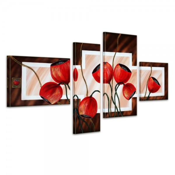 Blütenmotiv M7 - Leinwandbild 4 teilig 120x70cm Handgemalt