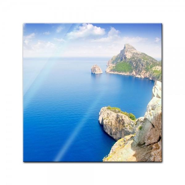Glasbild - Formentor cape to Pollensa aerial sea view in Mallorca - Spanien