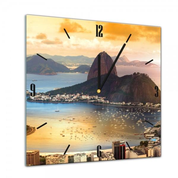Glasuhr - Städte, Seen & Landschaften - Copacabana in Rio De Janeiro - 40x40cm