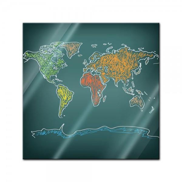 Glasbild - Weltkarte auf Tafel