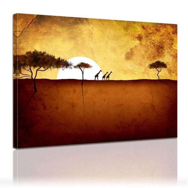 Leinwandbild - Giraffen im Sonnenuntergang