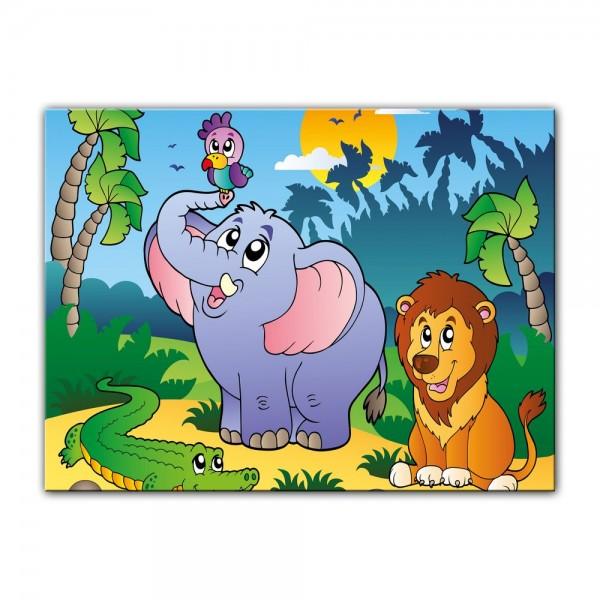 Leinwandbild - Kinderbild - afrikanische Tiere