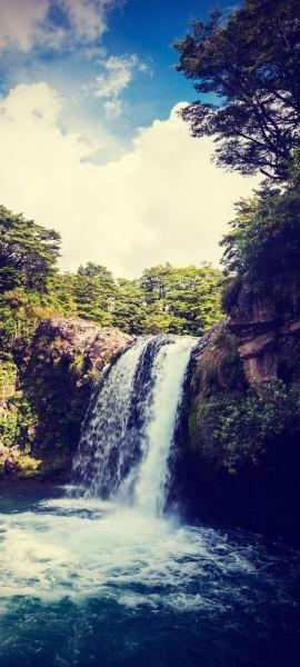 Türtapete selbstklebend Tawhai Falls - Neuseeland Vintage 90 x 200 cm Ozeanien Wasserfall Nationalp