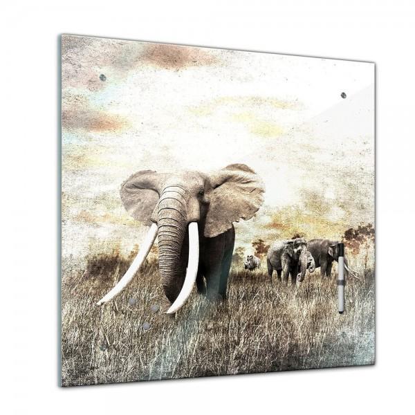 Memoboard - Tiere - Elefantenherde - 40x40 cm
