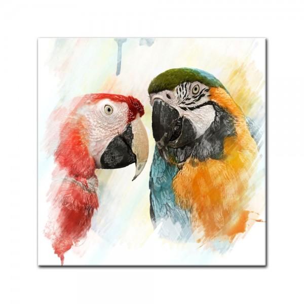 Glasbild - Wasserfarbenbild - Papageien