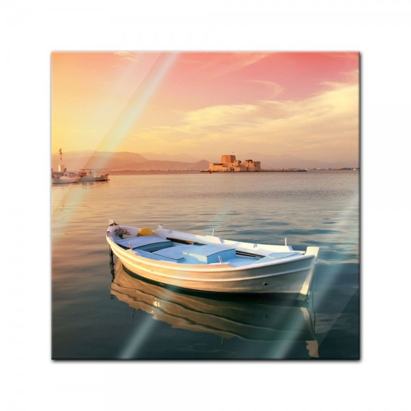 Glasbild - Traditionelles griechisches Fischerboot