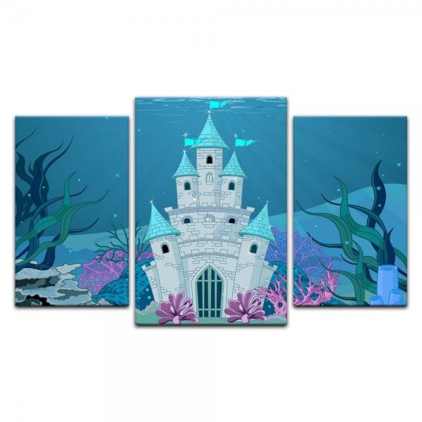Leinwandbild - Kinderbild - Unterwasserschloss Cartoon