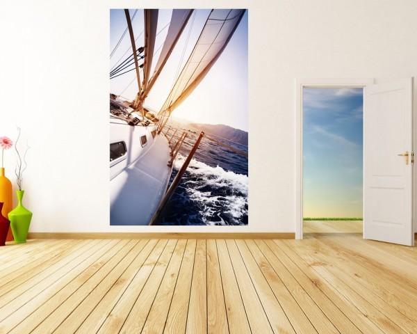 Fototapete - Yacht auf See