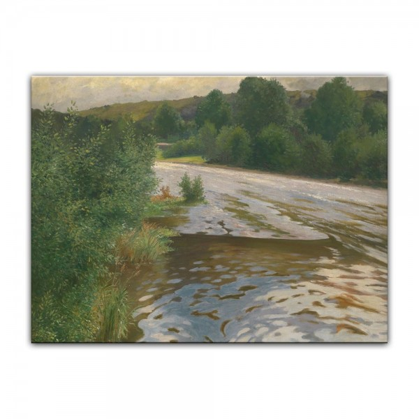 Leinwandbild - Adolf Kaufmann - Flusslandschaft
