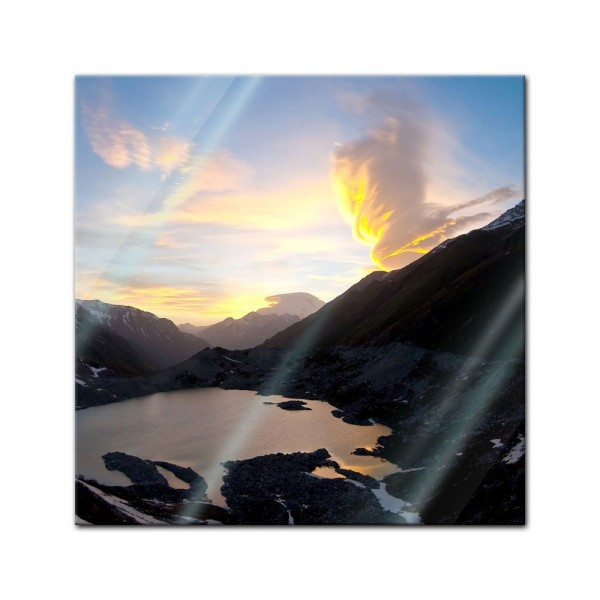 Glasbild - Naturphänomen im Kaukasus, Elbrus - Russland