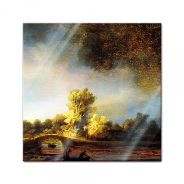 Glasbild Rembrandt - Alte Meister - Landschaft mit Steinbrücke