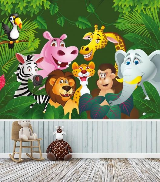 Fototapete - Kinderbild Dschungeltiere Cartoon IV