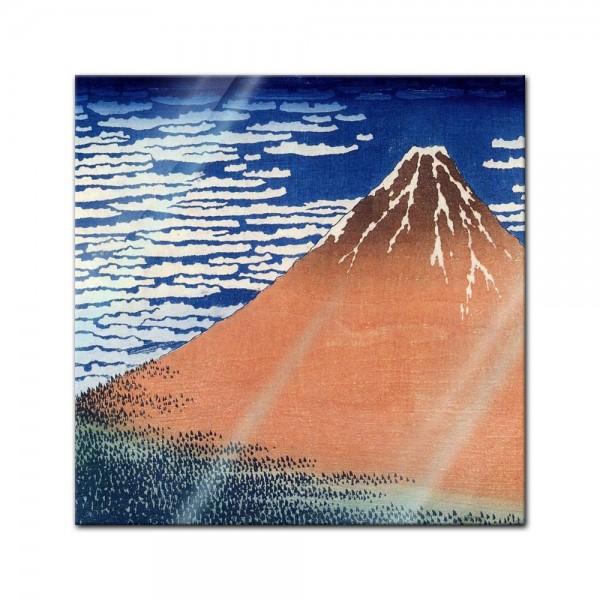 Glasbild Katsushika Hokusai - Alte Meister - Roter Fuji