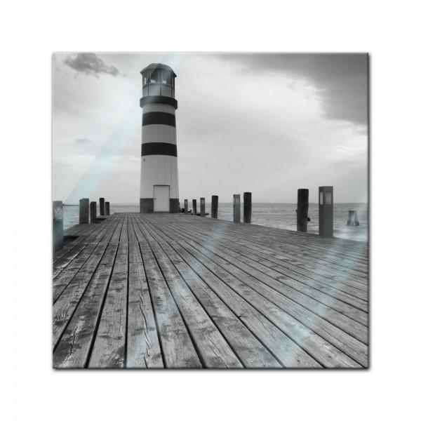 Glasbild - Leuchtturm sw