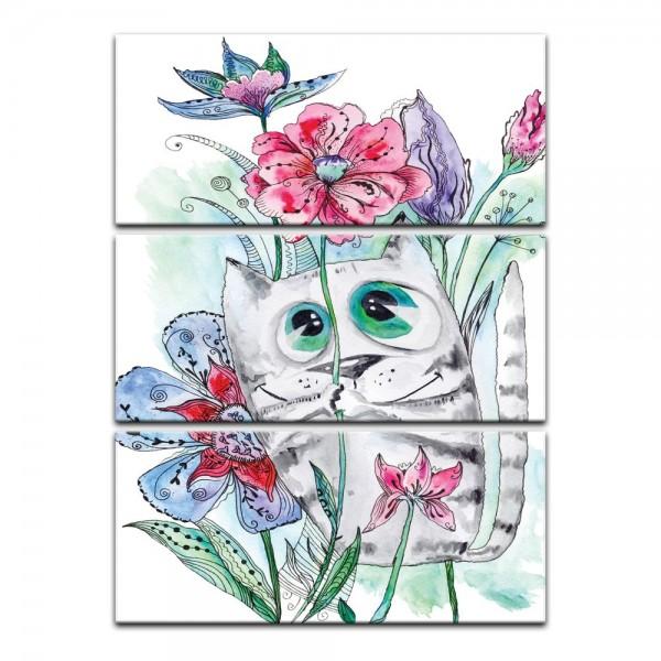 Leinwandbild - Kinderbild - Katze mit Blümchen Cartoon