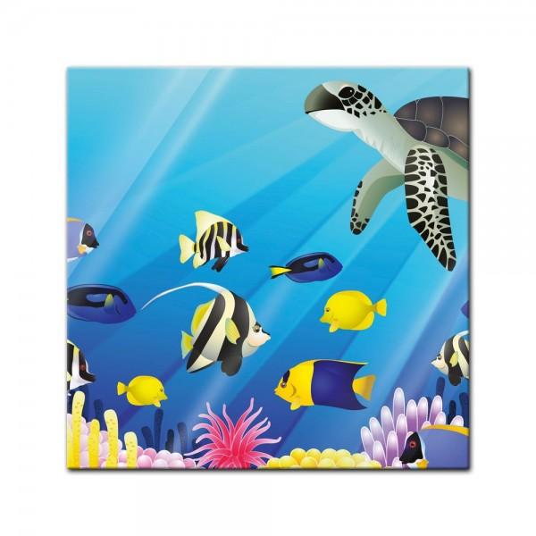 Glasbild - Kinderbild Unterwasser Tiere II