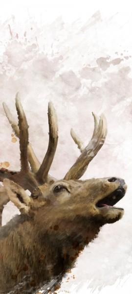 Türtapete selbstklebend Hirsch 90 x 200 cm Wasserfarbe Aquarell Tier Wald Natur Geweih Ren Elch Eur