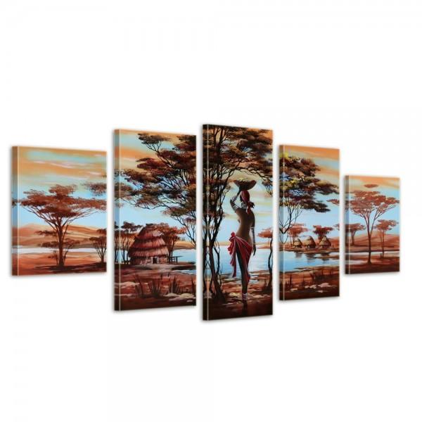 African Dreams M2 - Leinwandbild 5 teilig 150x70cm Handgemalt
