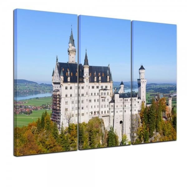 SALE Leinwandbild - Schloss Neuschwanstein - Deutschland - 90x60 cm 3tlg
