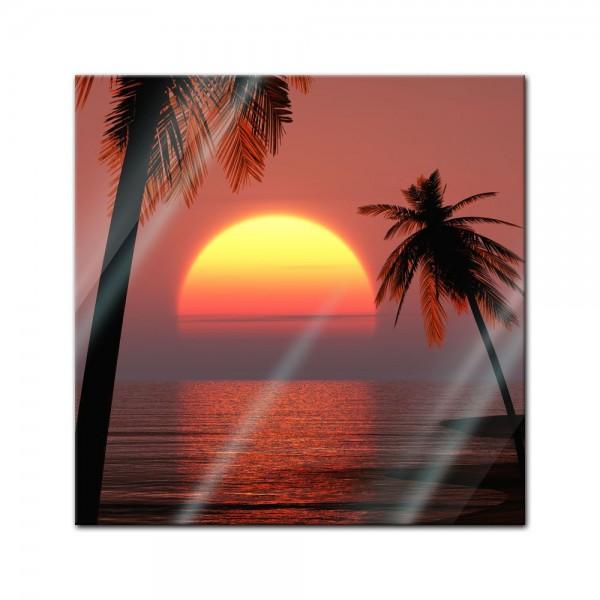 Glasbild - Sonnenuntergang auf Ibiza