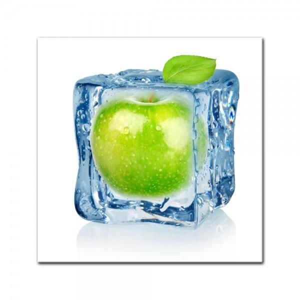 Leinwandbild - Eiswürfel Apfel