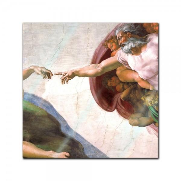 Glasbild Michelangelo - Alte Meister - Die Erschaffung Adams