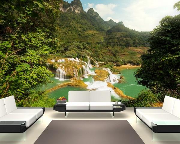 Fototapete Ban Gioc Detian Wasserfall in Vietnam II