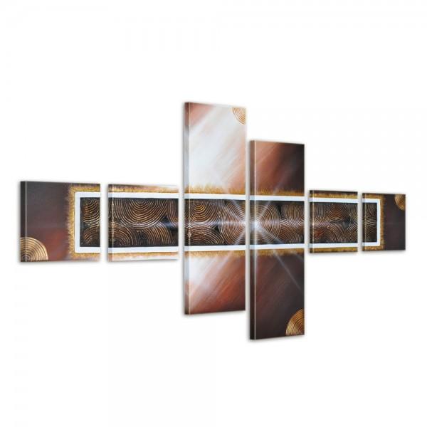 SALE Abstrakt M3 - Leinwandbild 6 teilig 120x70cm Handgemalt