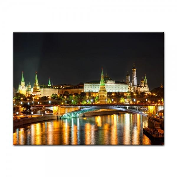 Leinwandbild - Nachtansicht des Kreml - Moskau