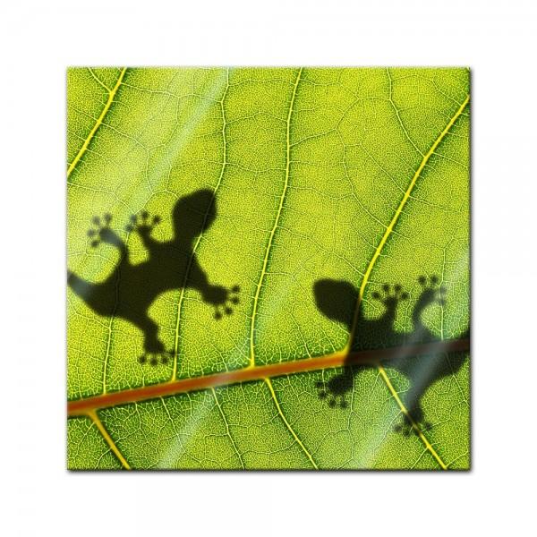 Glasbild - Dschungelblatt mit Geckos
