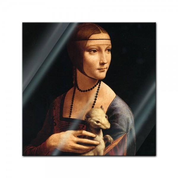 Glasbild Leonardo da Vinci - Alte Meister - Die Dame mit dem Hermelin