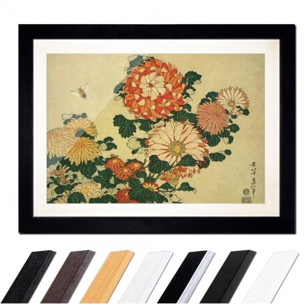 Katsushika Hokusai - Chrysantheme und Biene